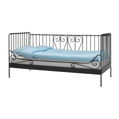 Black Ikea metal day bed with mattress