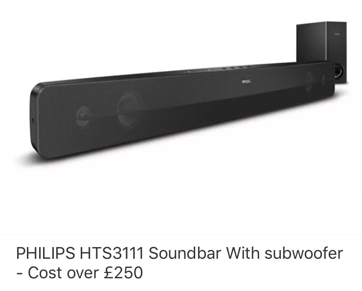 Philips sound bar and subwoofer