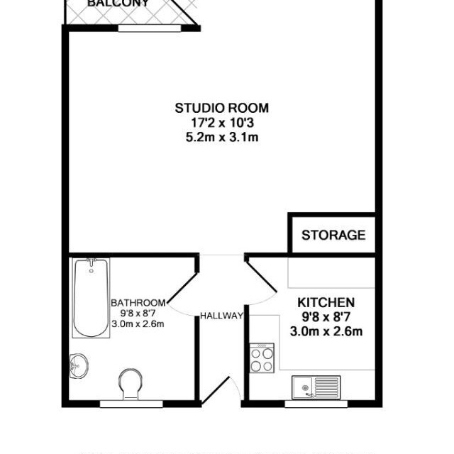 Large studio Apartment.