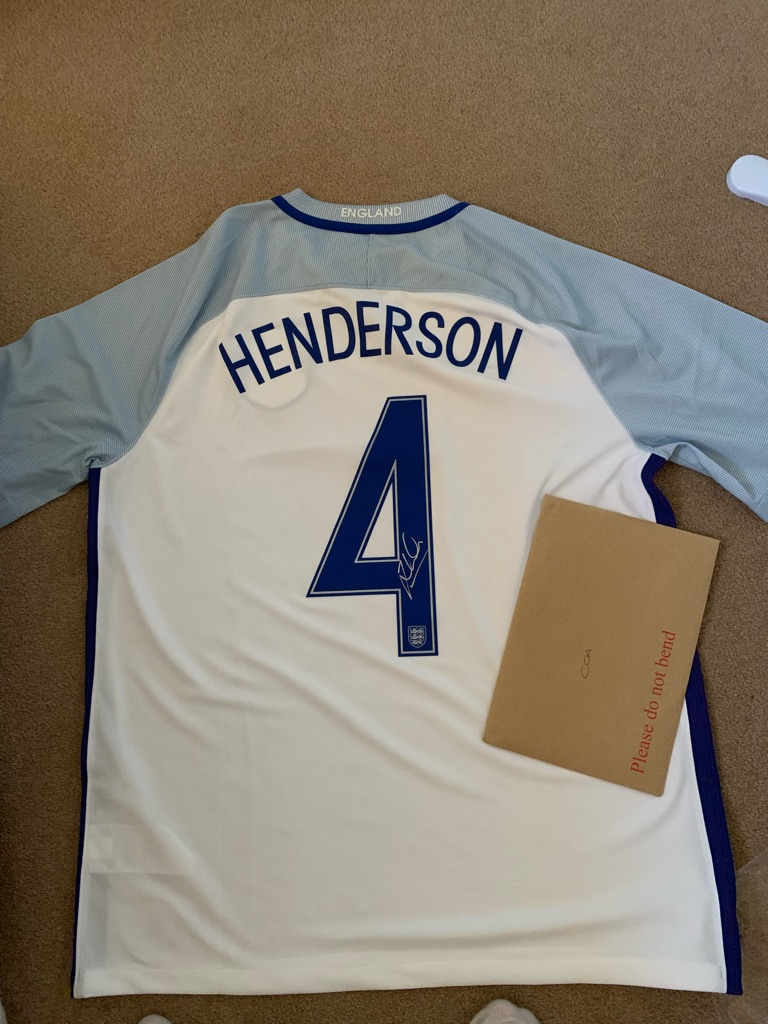 Signed Jordan Henderson England shirt with certificates