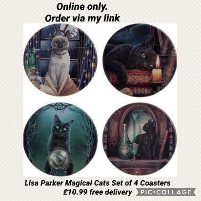 Lisa Parker Magical Cats Set of 4 Coasters £10.99 free delivery. 15% off you order. or make 4 interest-free payments of £2.75 fortnightly with clearpay