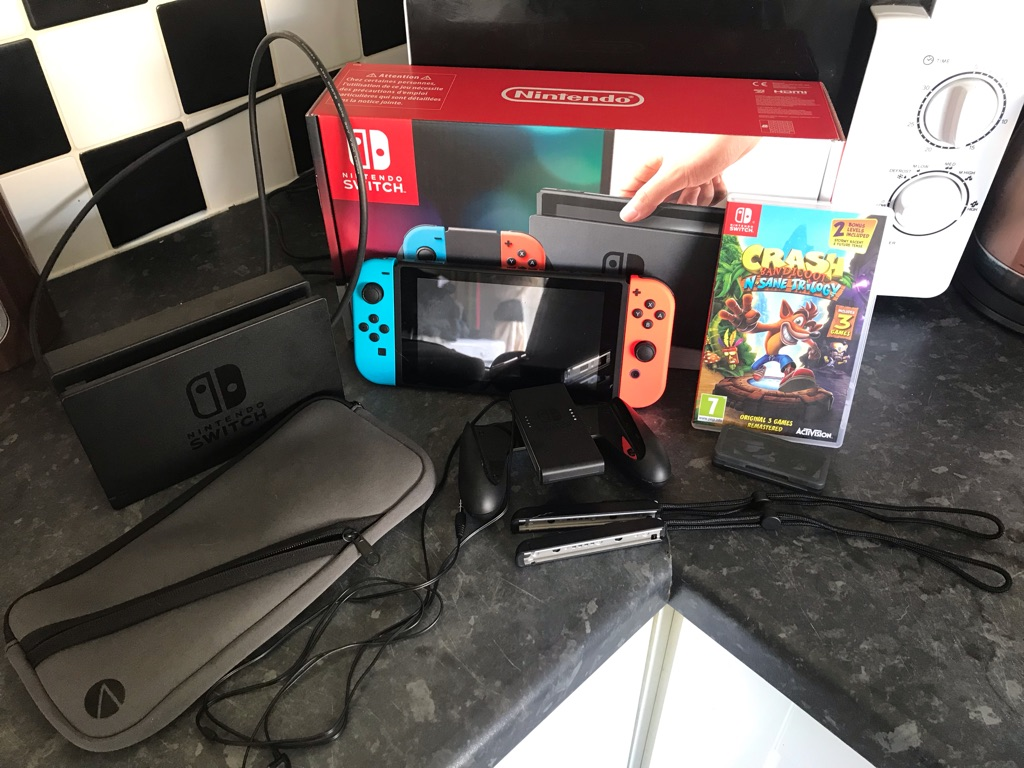Nintendo switch with all accessories and game