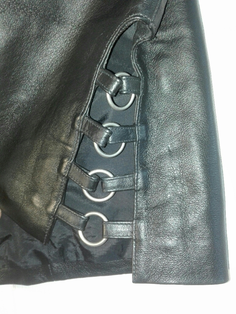 REDUCED. Black real leather skirt
