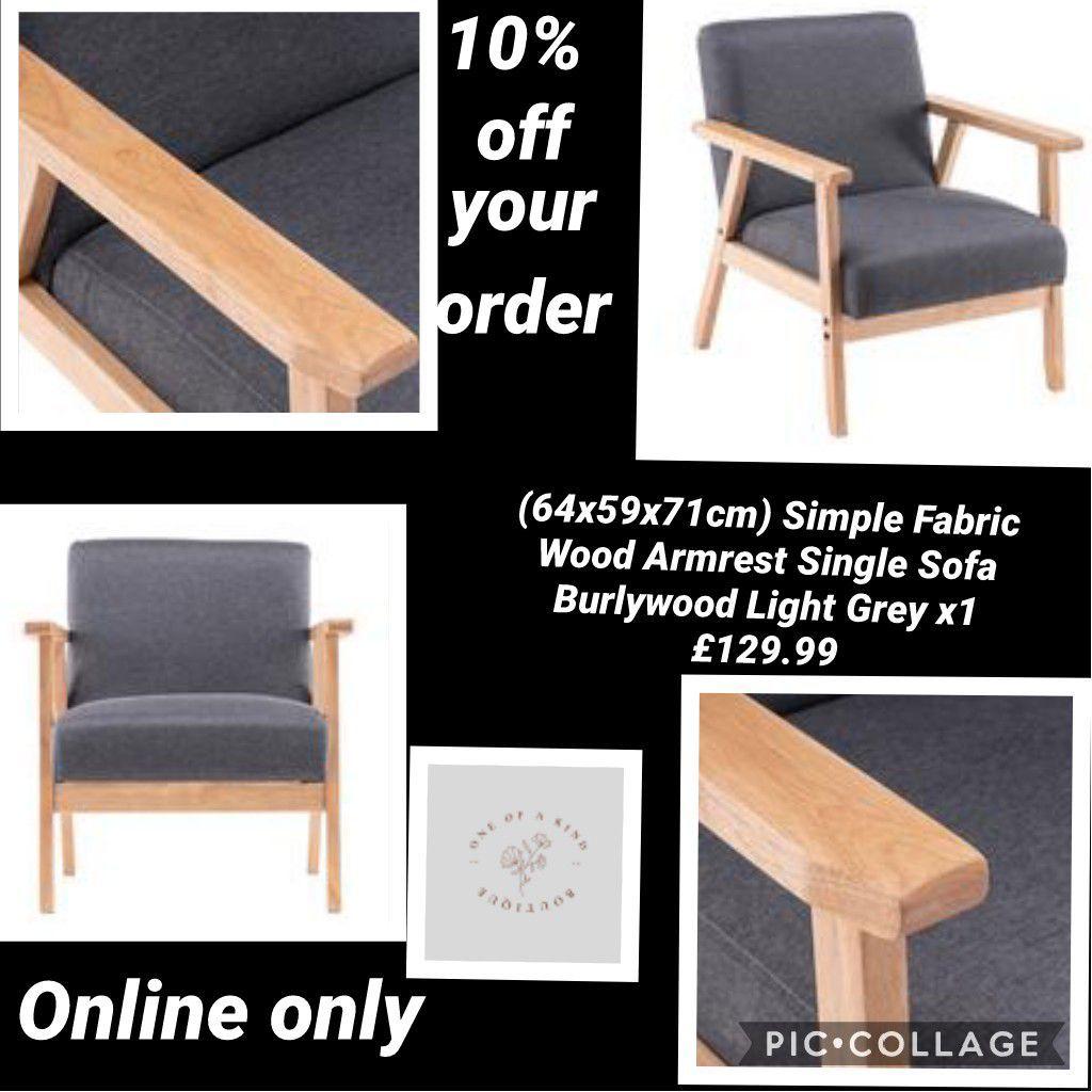 (64x59x71cm) Simple Fabric Wood Armrest Single Sofa Burlywood Light Grey x1