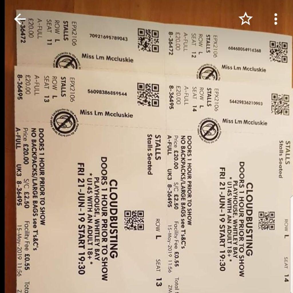 Tickets x 4 Cloudbusting Whitley Bay 21JUN19