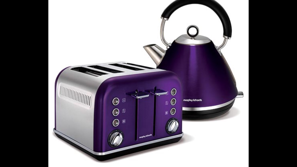 Morphy Richards purple kettle and toaster