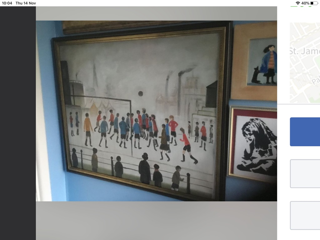 The football match oil painting on canvas 22in 26in