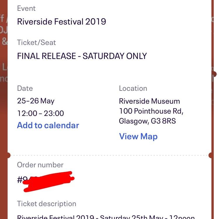 Riverside Saturday ticket