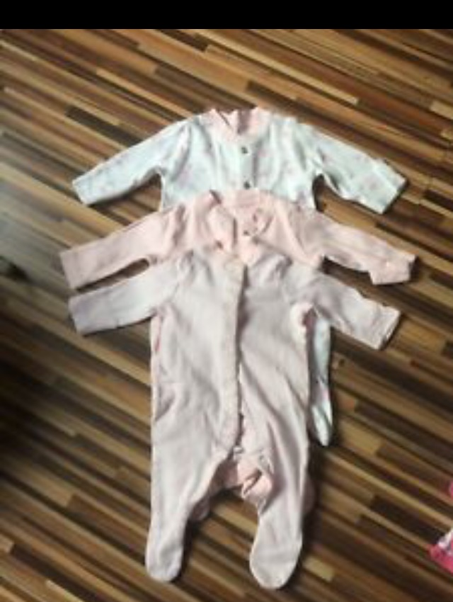 3 mothercare new baby babygrows
