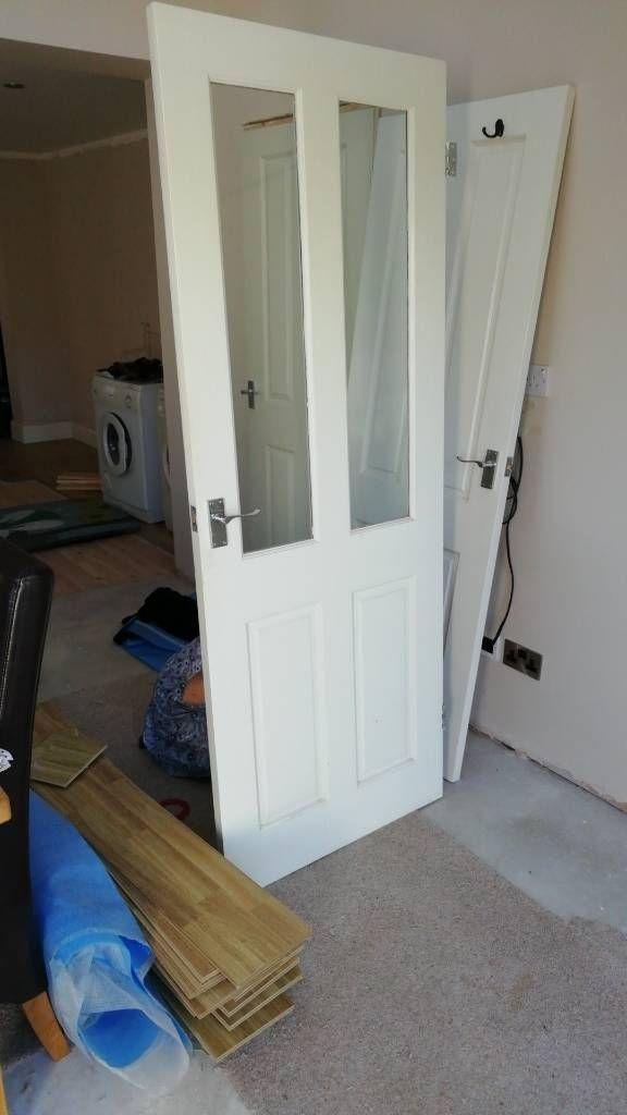 Part glazed solid wood door