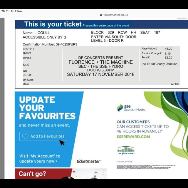 Florence and the machine tickets x 2