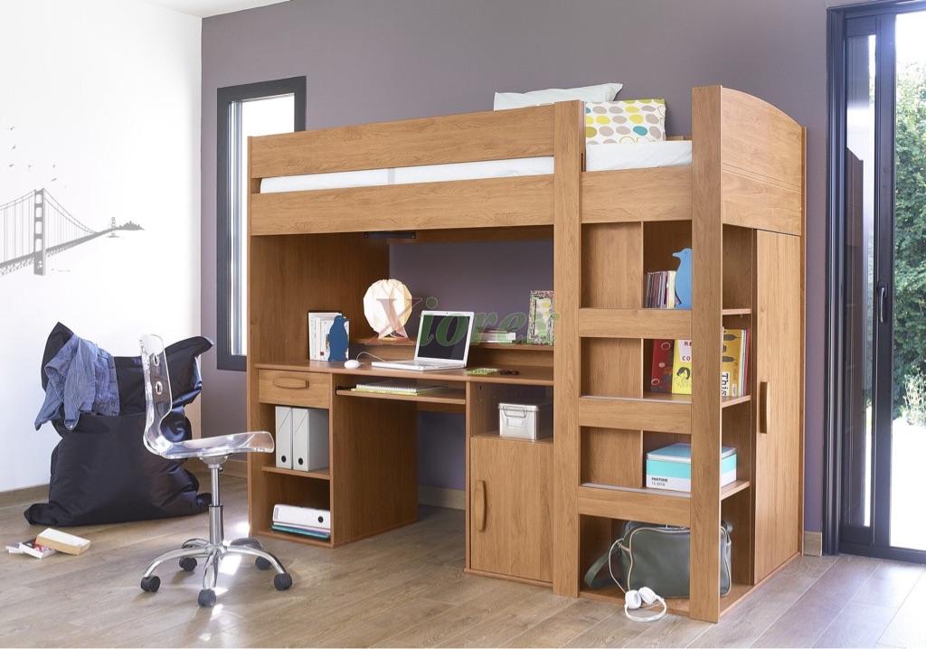 Children's High Sleeper - wardrobe, shelves, desk, cupboards