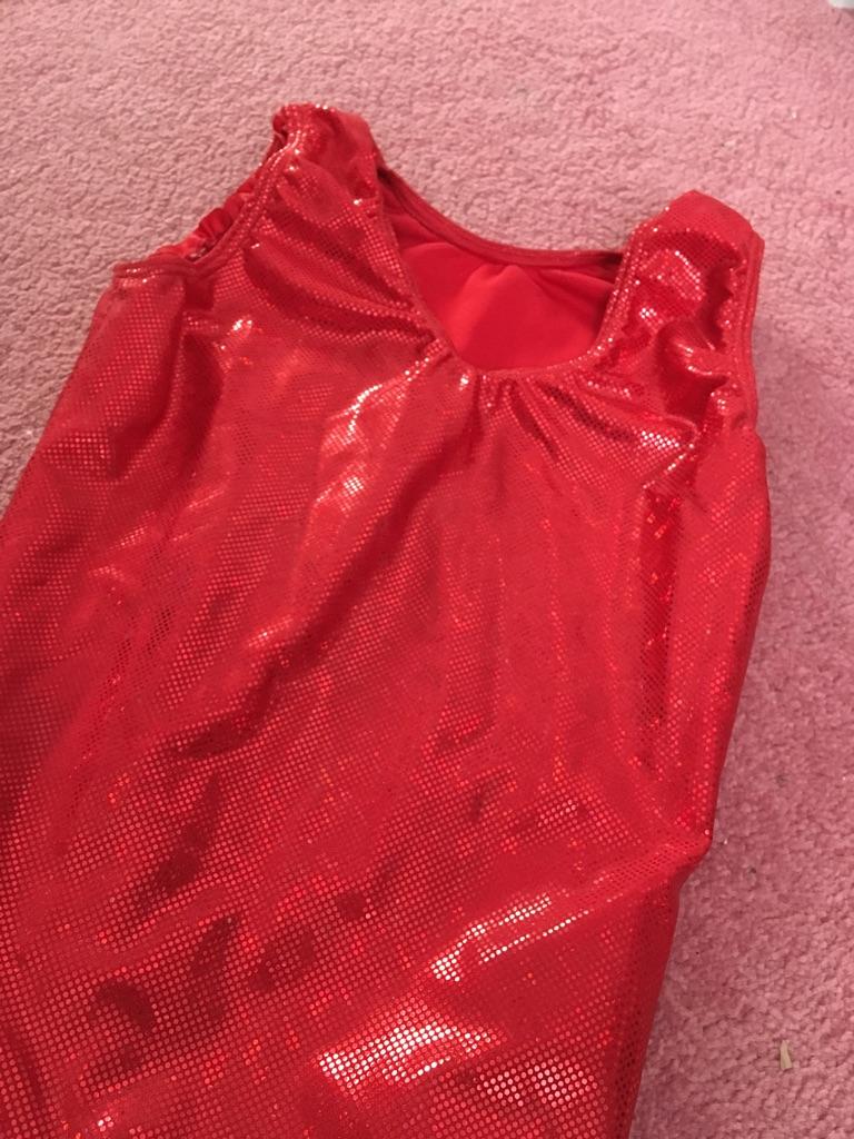 Girls red gymnastics leotard