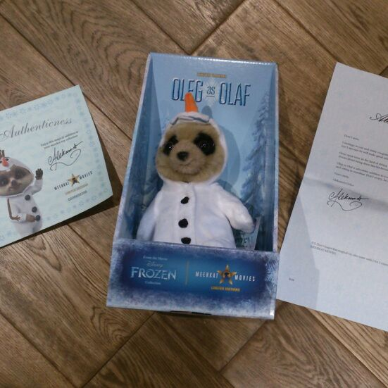 Oleg as olaf meerkat soft toy collectable