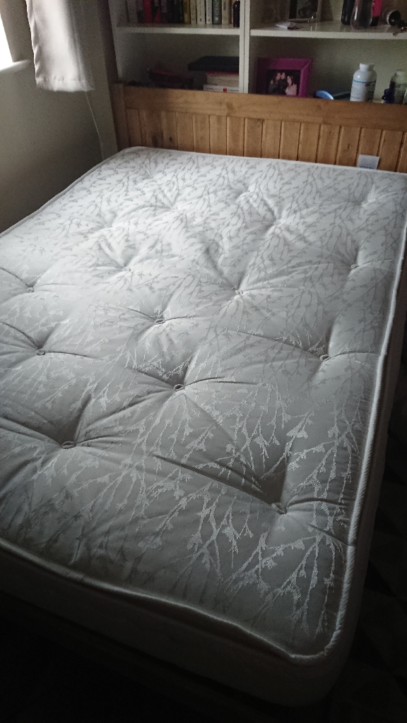 Double Mattress and Wooden Bed Frame