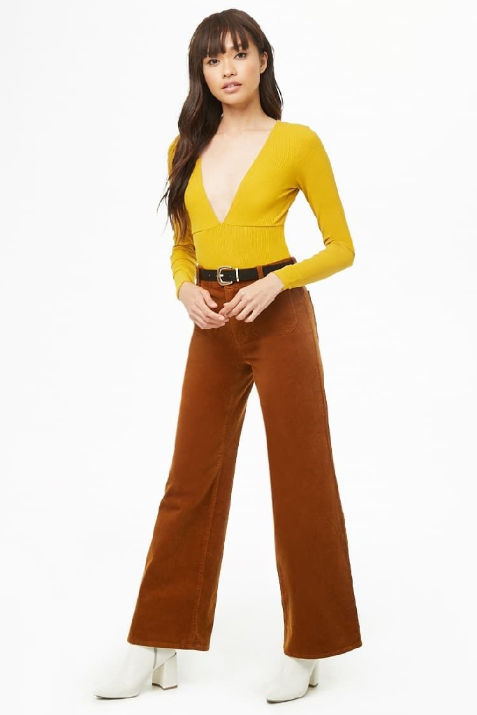 yellow plunge bodysuit