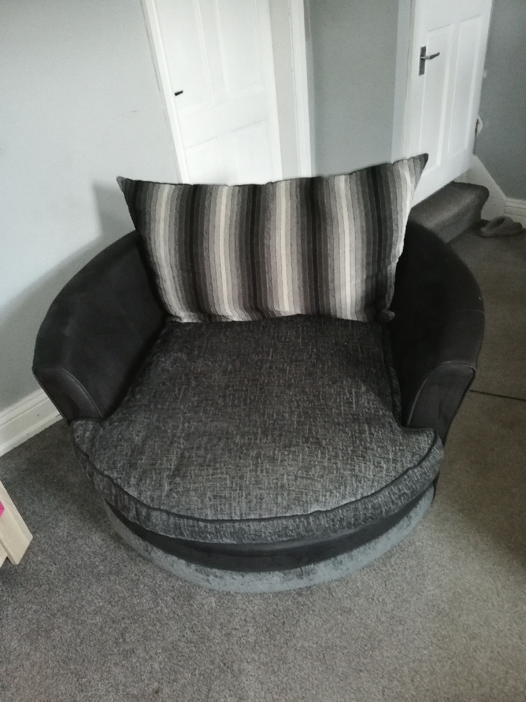 Corner sofa and snuggle chair with foot stool