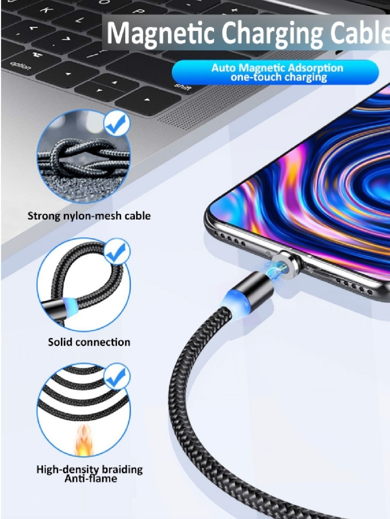 Magnetic Charger Cable 3 in 1 for iPhone / Type C / Micro USB Magnetic Charging  Cable