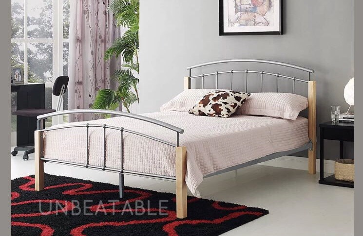 Double bed frame Crome/wood