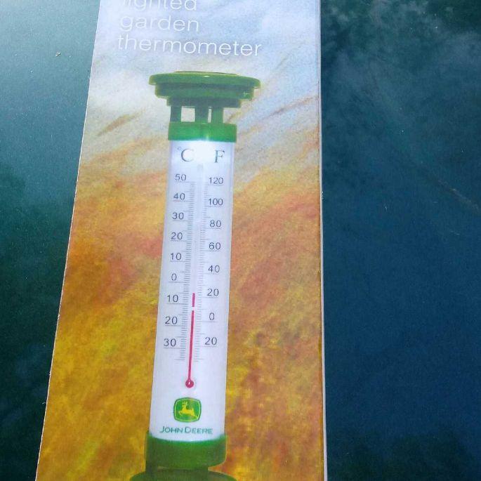 John Deere solar lighted garden thermometer
