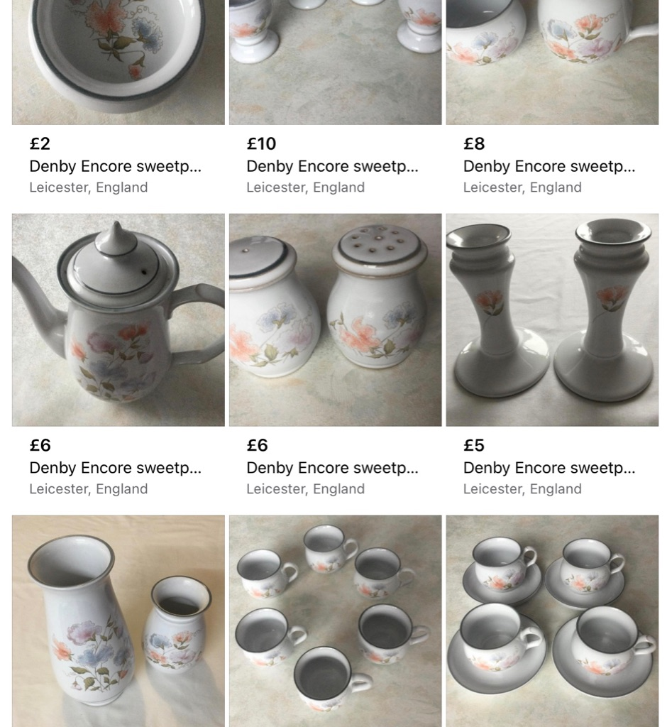 Denby Encore sweetpea design