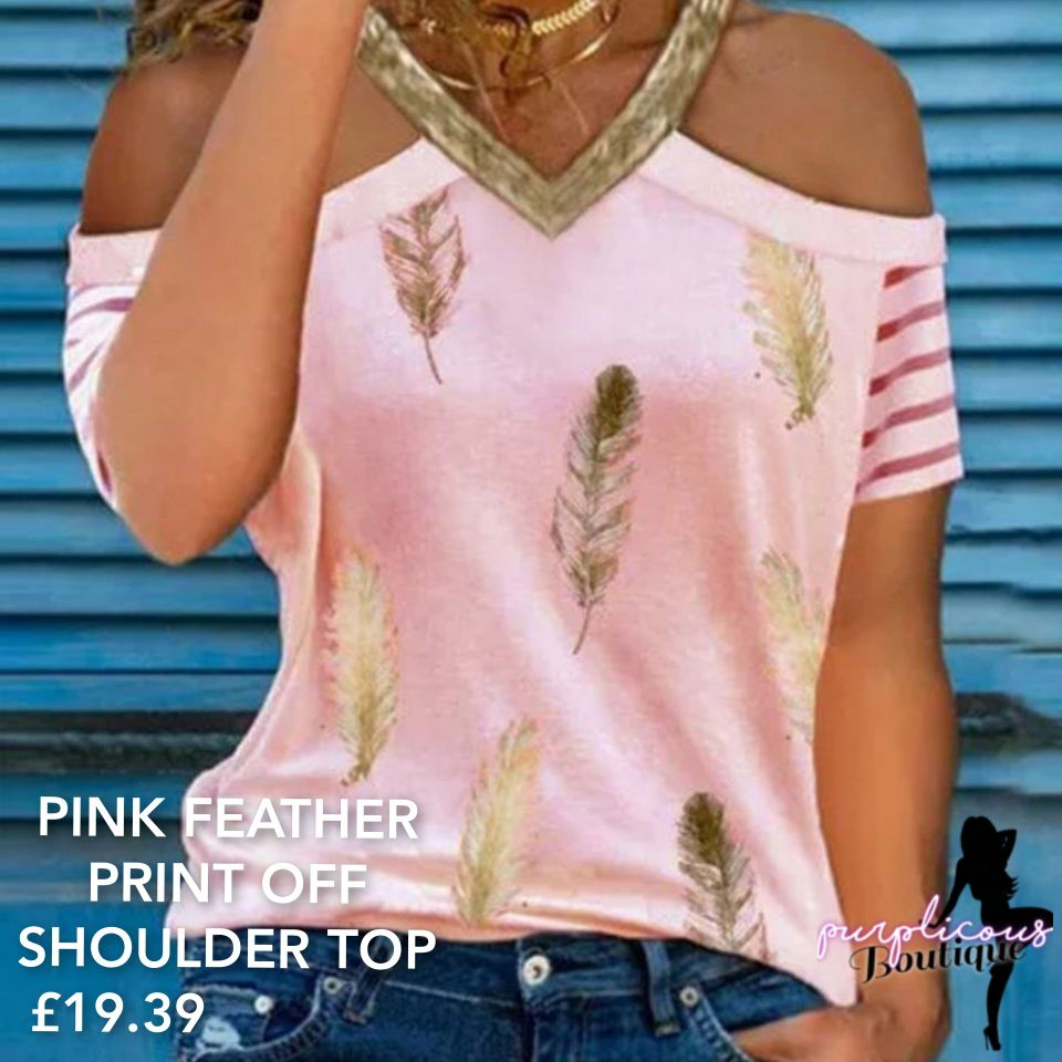 PINK FEATHER PRINT OFF SHOULDER TOP