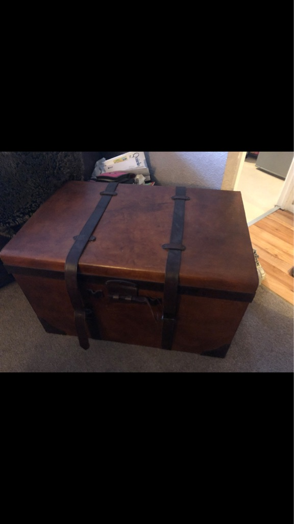 Large Wooden Leather Storage Trunk Chest