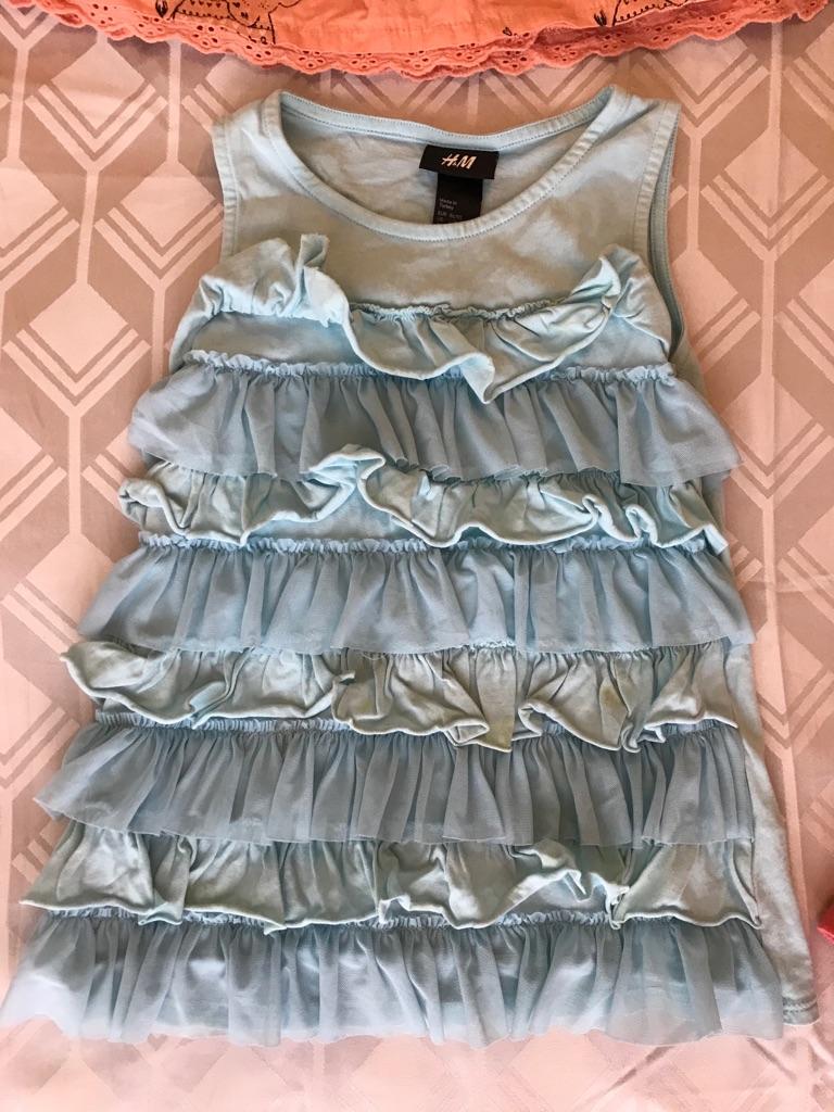 H&M Aqua Sky Blue Girls Ruffle Dress Age 1-2