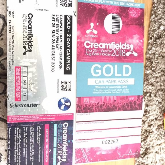 Creamfields Ticket - Gold  2 Day & car park pass