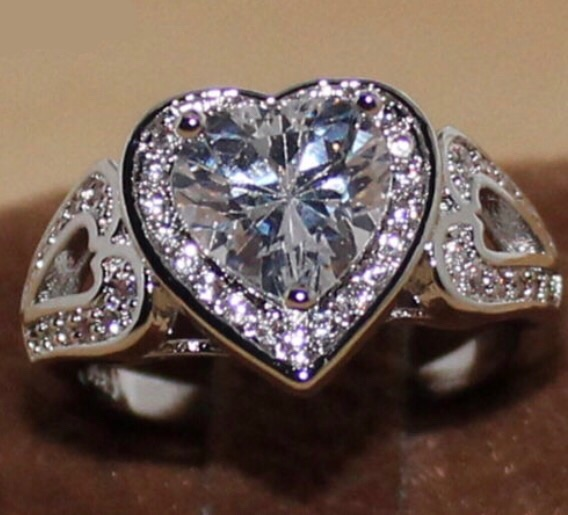 2.0 CTTW Heart Cut CZ Diamond Ring