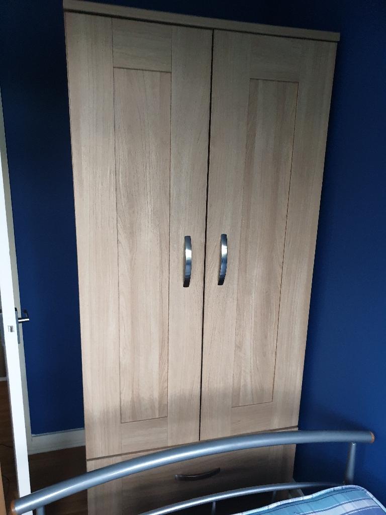 2 door Wardrobe and chest in light oak