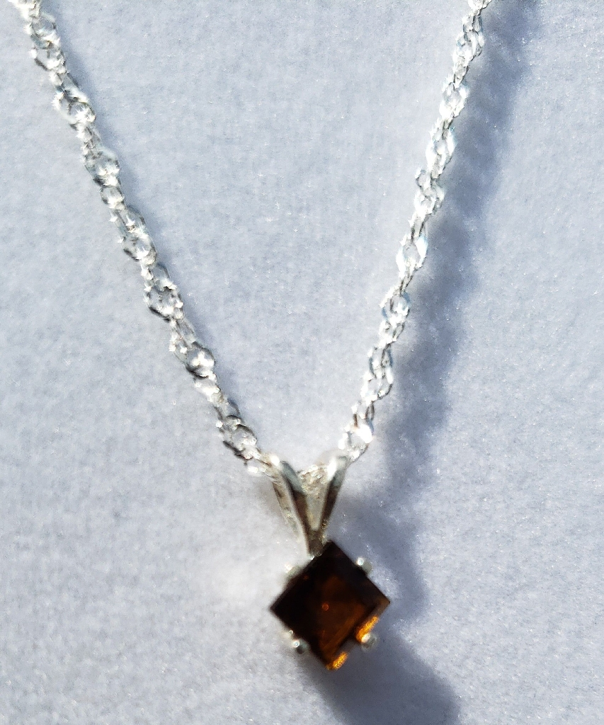 Square Tourmaline Sterling Silver Necklace