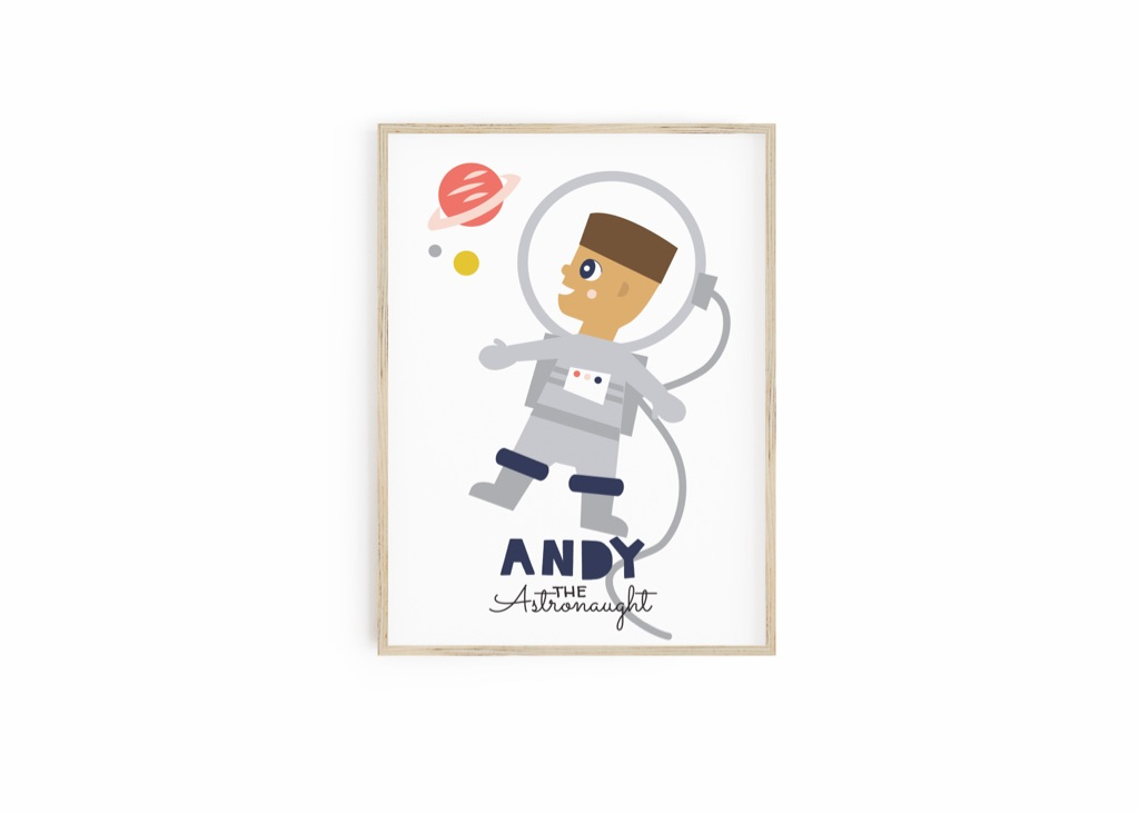 Personalised Astronaut Print for your child - Gifts for Kids