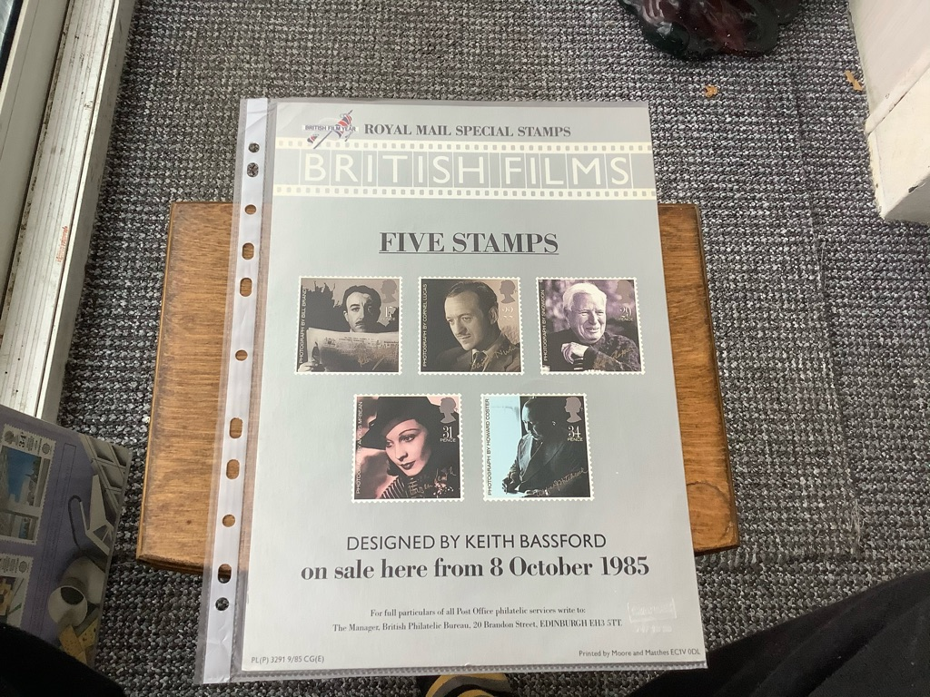 Post office special stamps British Flims A 4 poster 8 October 1985 EX C