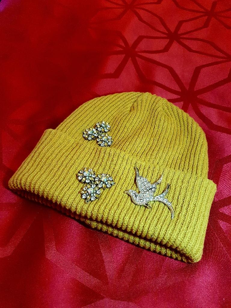 Winter Hat Mustard with Hummingbirds and Rhinestones