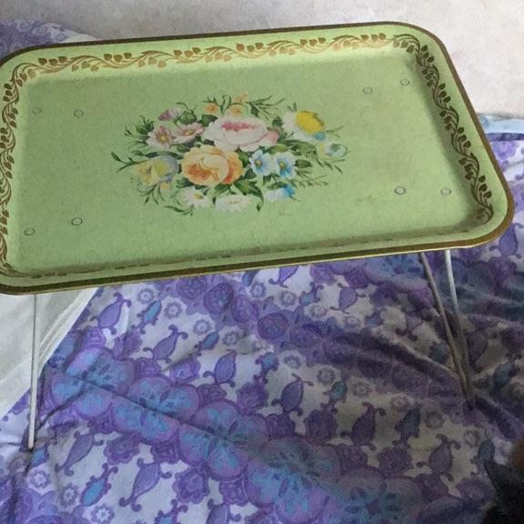 Vintage metal painted tray on metal legs