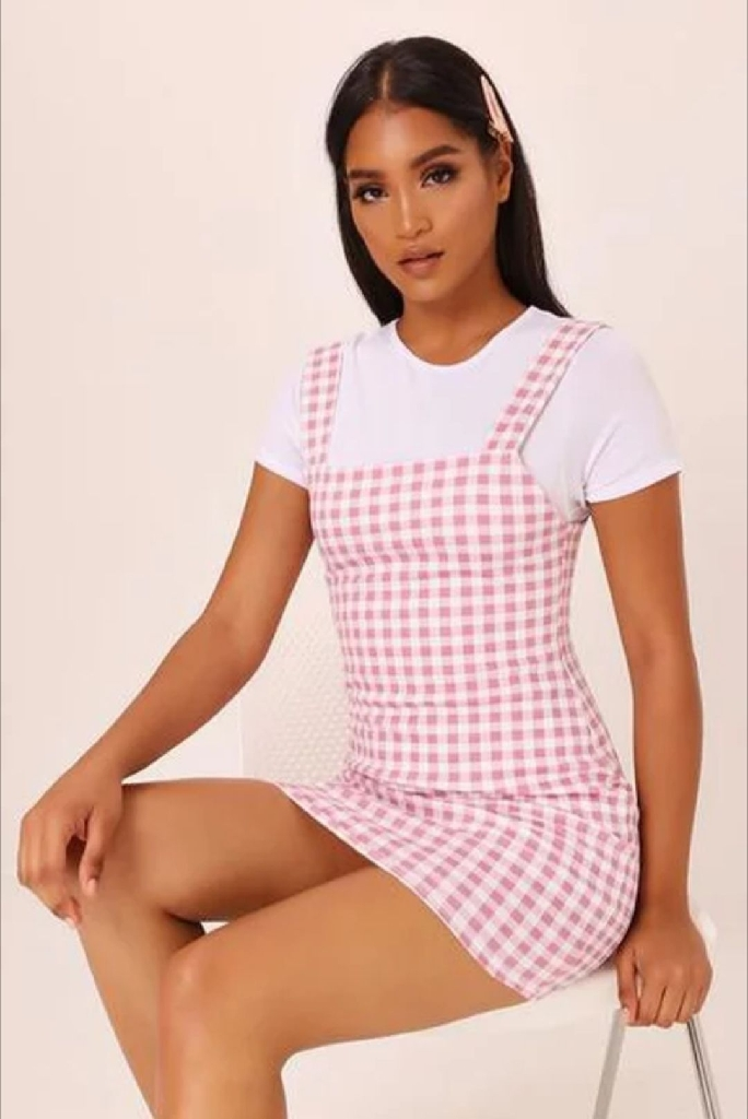 Pink Gingham Pinafore Dress