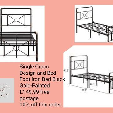 🛌🏻Single Cross Design and Bed Foot Iron Bed Black Gold-Painted