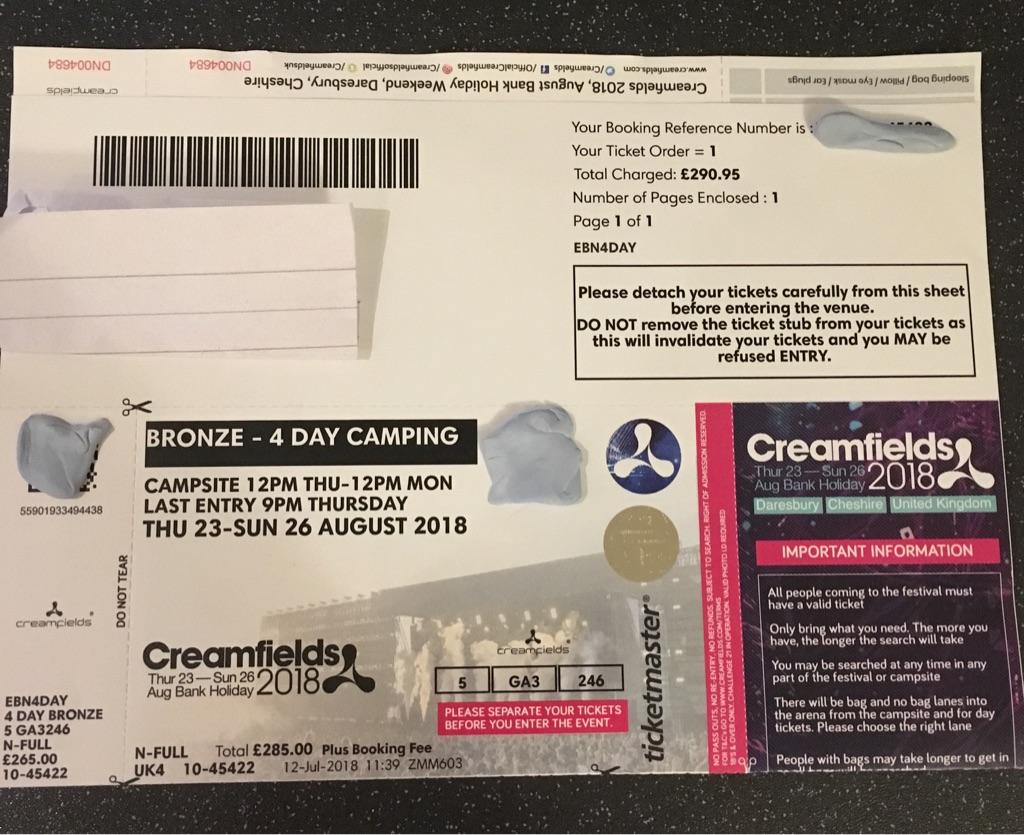 1x creamfeilds ticket