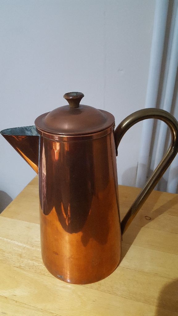 Antique Copper & Brass Coffee Pot. Lined