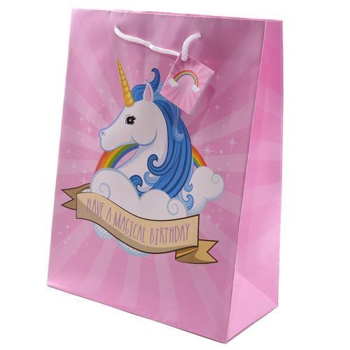Large glossy unicorn gift bag