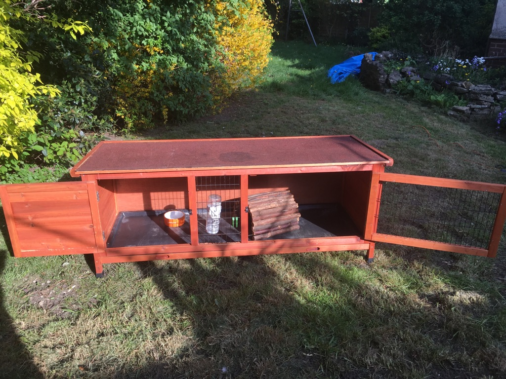 Rabbit Hutch plus waterproof cover and indoor cage