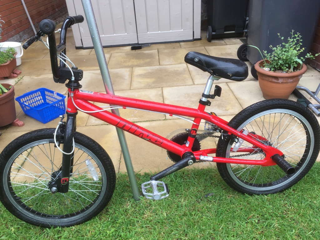 Red BMX style bike