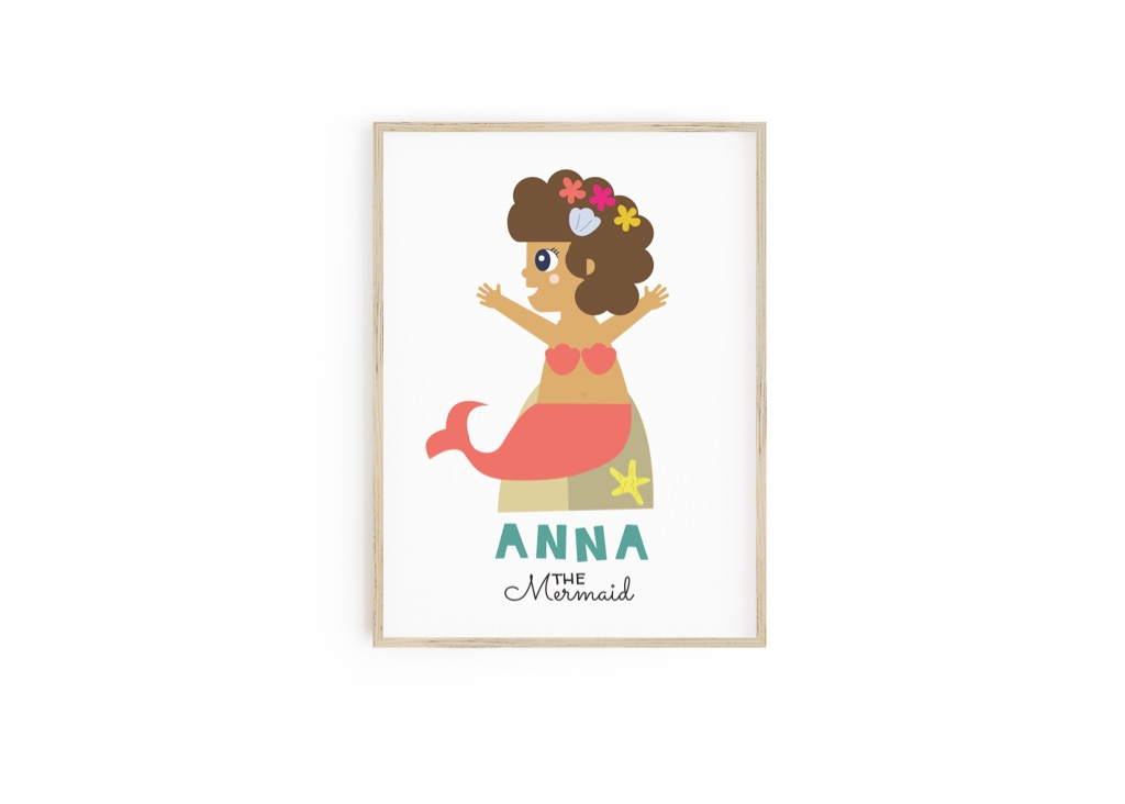 Personalised Mermaid Print for kids - Gifts for Kids