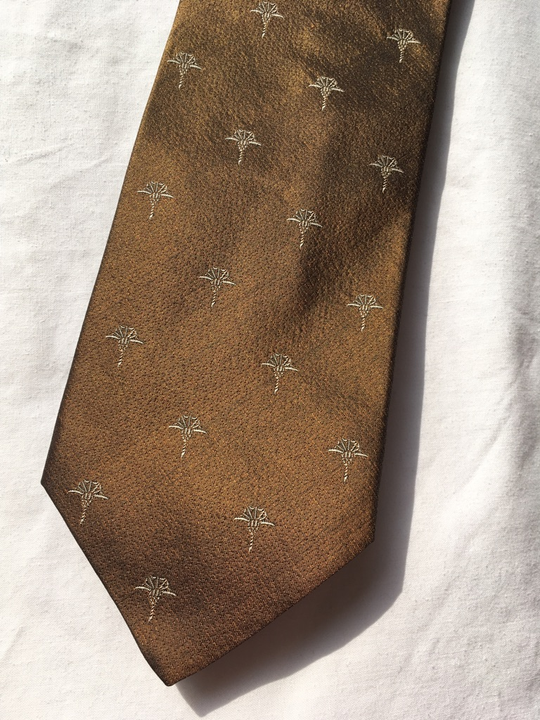 Brown designer silk tie