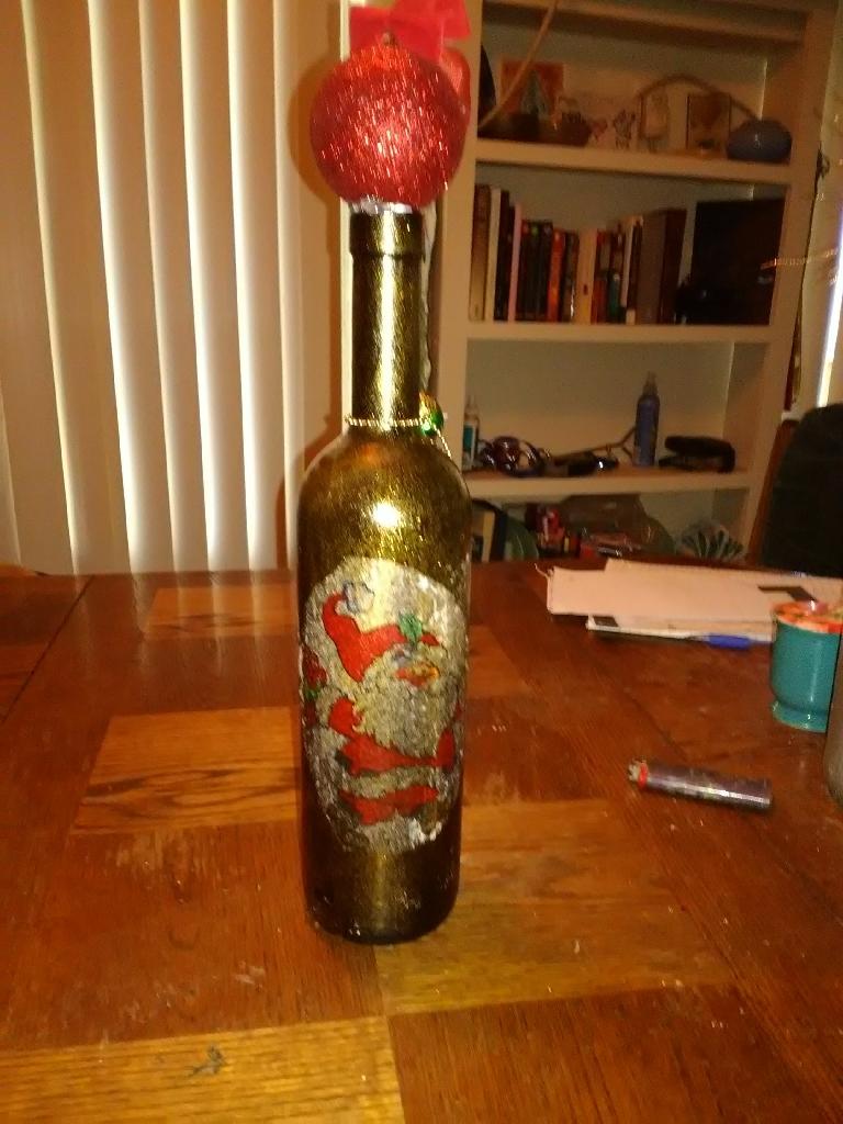 Christmas wine bottle decor