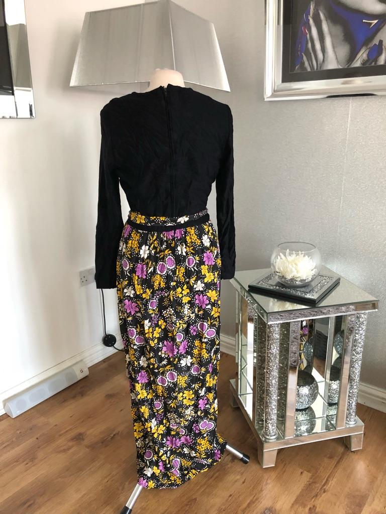 Women's Black multi coloured vintage dress 1960s size 12/14