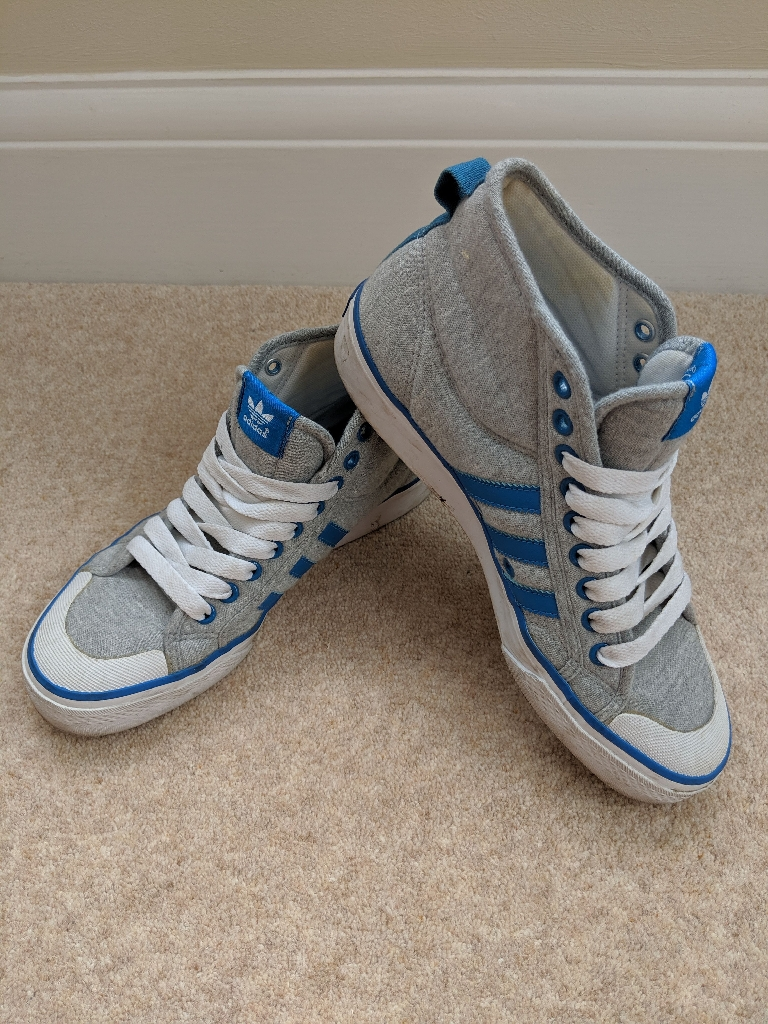 Adidas Men's Grey & Blue Nizza Hi Grun Sneakers Size 7