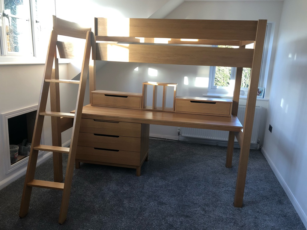 ASPACE OAK HIGH RISE BED/BUREAU