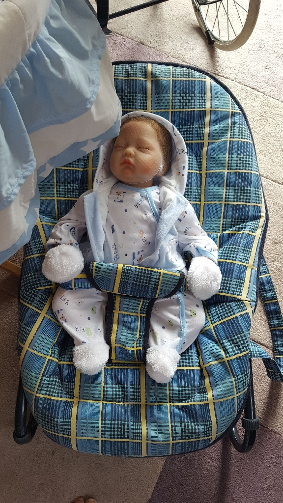 Reborn new doll.bouncer and crib.